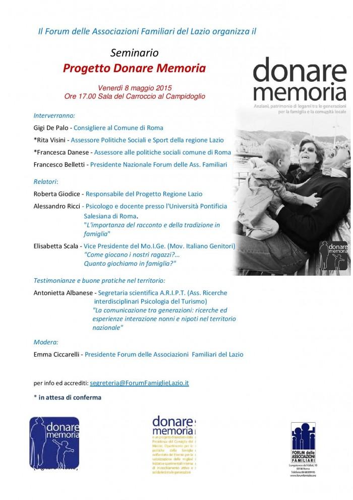 Locandina Seminario Donare la Memoria di venerdi 8 maggio 2015 -page-001